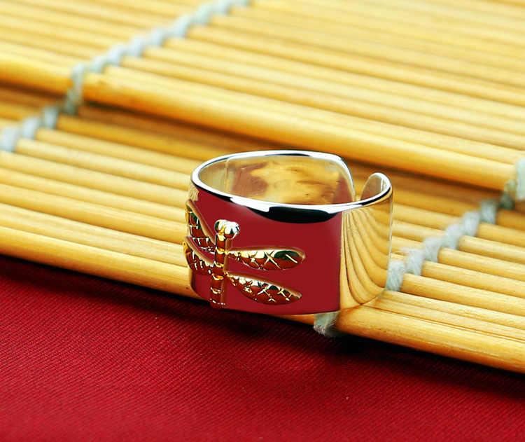Lady 925 เงินสเตอร์ลิงแหวนพิเศษ DRAGONFLY Design แหวนเงินผู้หญิงยอดนิยมเงิน Solid แหวนเงินวันเกิดของขวัญ