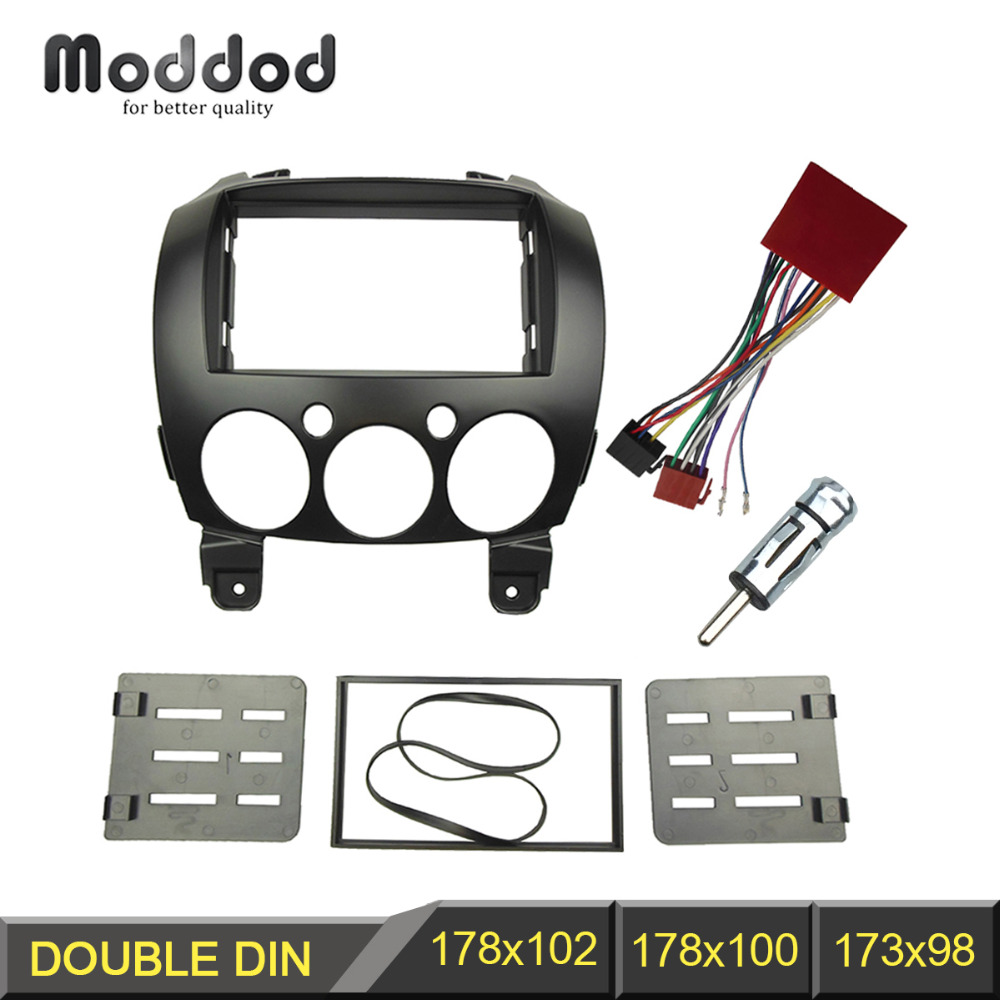 Double Din Radio Fascia For Mazda 2 Demio 2007  Stereo Panel Dash Installation Iso Wire Adapter