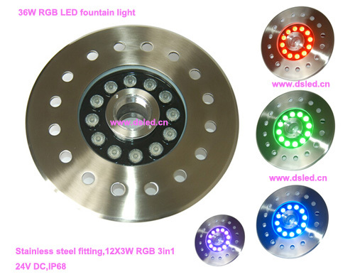 Free shipping by DHL !! IP68,good quality,36W RGB LED fountain light,RGB LED pool light,24V DC,DS-10-4-36W-RGB,stainless steel kl5m c 10pcs lot new arrival led cordless cap lamp miner s light free shipping by dhl
