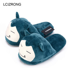 94b1309d9bc2 Women Anime Cartoon Pokemon Slippers Lovers Warm Woman Slippers Elf Ball  Pikachu Go Plush Shoes Home