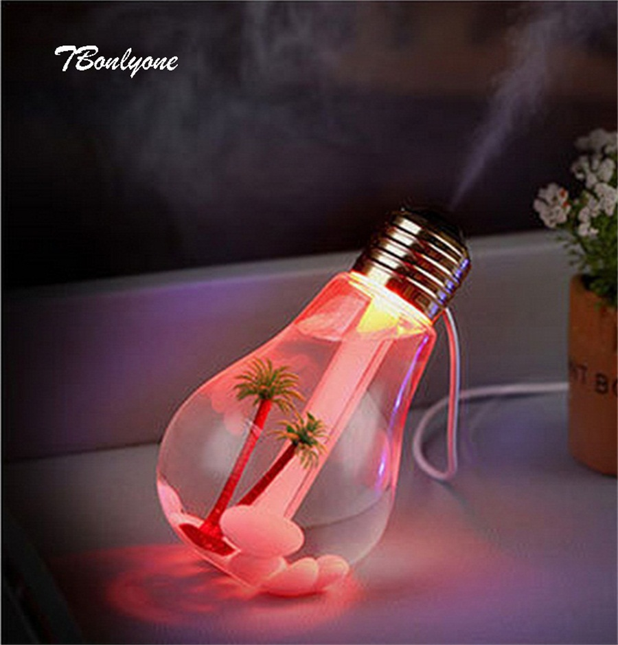 TBonlyone 400ML Bulb Design Colorful Ultrasonic Aroma Diffuser Aromatherapy Air Humidifier Essential Oil Diffuser Fogger