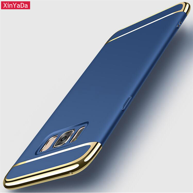 Xinyada Full Protection Luxury Plastic PC Back Case For Samsung Galaxy S8 / S8 Plus Matte Cases Cover 3in1 Plating Shockproof