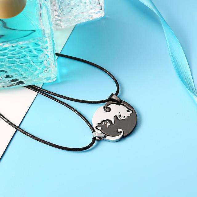 Cat Shaped Pendant Necklace for Couples