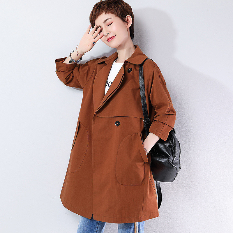 Middle-aged Windbreaker Female Long section 2019 Spring Autumn New Large Size   Trench   Coats Women Overcoat X874