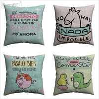 Mr wonderful crianças dos desenhos animados citação decorativa algodão linho capa de almofada 45x45cm para sofá cadeira travesseiro caso decoração para casa almofada