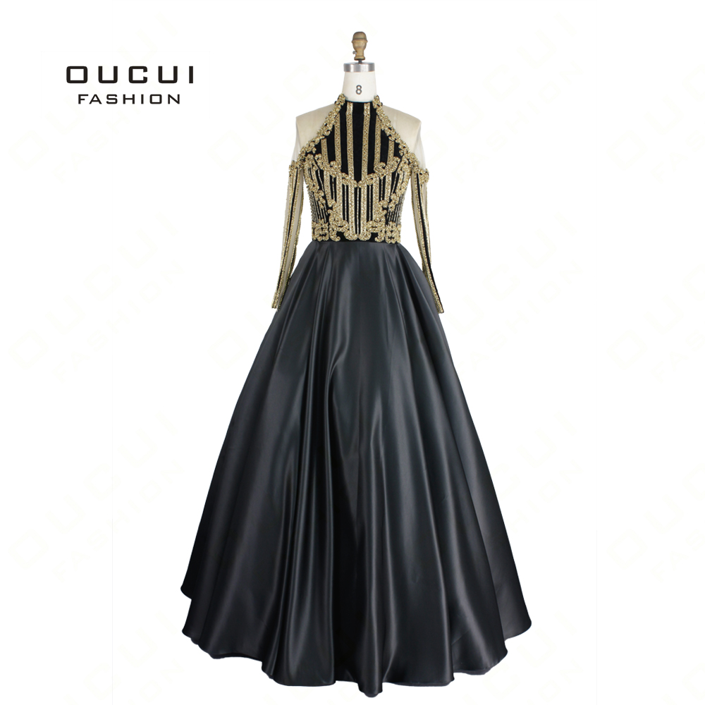 Dubai Gold Long Sleeve Evening Gown 2019 High Neck Sexy Off Shoulder Diamond Luxury Sequins Sparkly Vestido Real Photo OL103097
