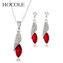 HOCOLE Hot Sale Fashion Jewelry Silver Color Jewelry Set Rhinestone Crystal Water drop Pendant Necklace Earrings Set For Women цена 2017