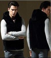 Fashion New Winter Thick Warm Men Faux Rex Rabbit Fur Vest Black Casual Men Hooded Fur Vests Colete de pele Plus Size S~4XL