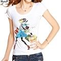 New Arrival Summer Women T-Shirt Diamonds Decoration Cartoon Little Girl Print Slim T-shirt Casual Tops Tee Shirt Femme S-XXXL