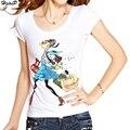 Novas Mulheres Chegada do Verão T-Shirt Diamantes Decoração Menina Dos Desenhos Animados Impressão Fino T-shirt Casual Tops T Shirt Mulher S-XXXL