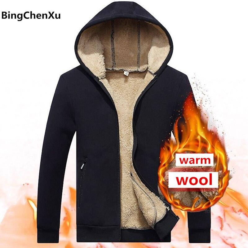Wool Hoodies Streetwear Fleece Long-Sleeve Winter-Style 618 Autumn M-4XL Men