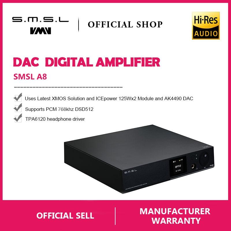SMSL A8 125Wx2 AK4490 768 khz DSD512 XMOS HIFI ICEpower Module Audio Numérique Amplificateur de Puissance/DAC/Ampli Casque dernière Solution