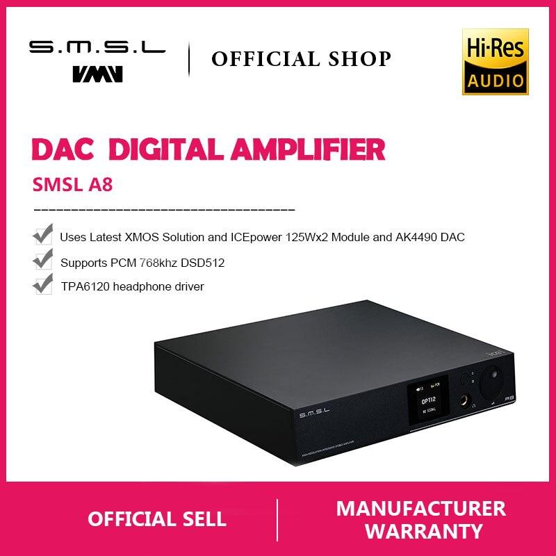 SMSL A8 125Wx2 AK4490 768 khz DSD512 XMOS HIFI ICEpower Modulo Audio Amplificatore di Potenza Digitale/DAC/Amplificatore Per Cuffie ultime Soluzione