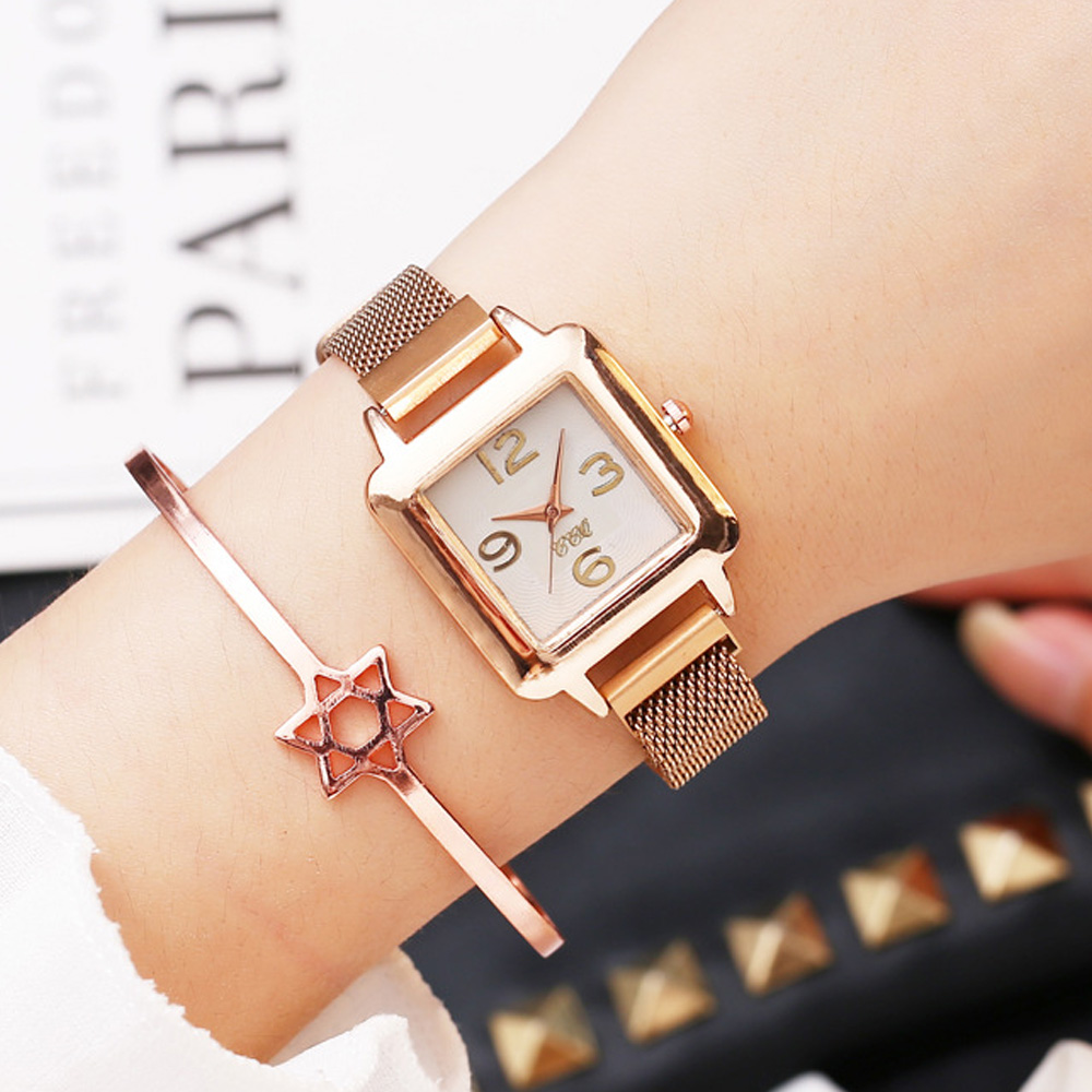 2019 New Fashion Luxury Ladies Dress Watch Rose Gold Casual Diamond Watch Female Wrist Watches Steel Magnetic Mesh Women Clock
