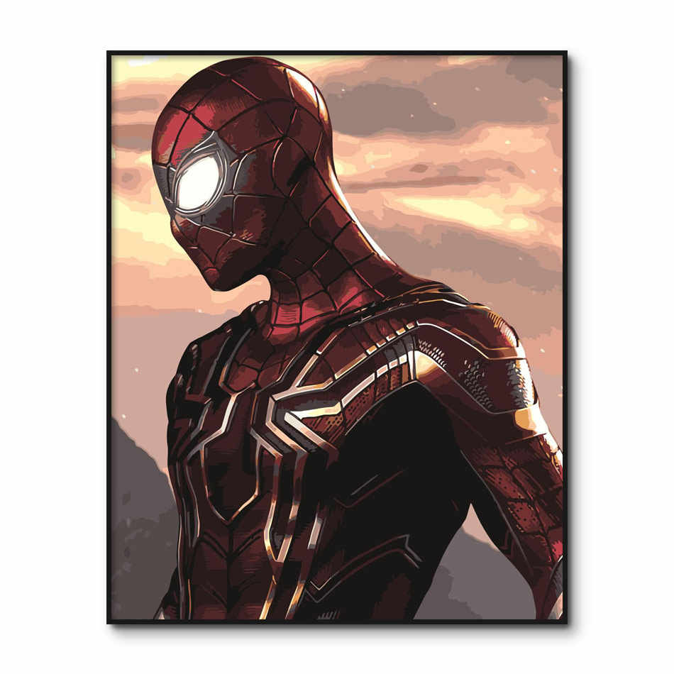 Spider Man Painting by Numbers on Canvas Peter Parker Poster Paint by Number kits Hand painted Pictures DIY Painting Wall Art