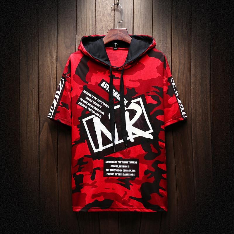 2019trend Hip Hop Short Sleeves Hoodies/Male Summer Printed Cotton Leisure Sweatshirts/Men's Camouflage Loose Comfortable Jacket