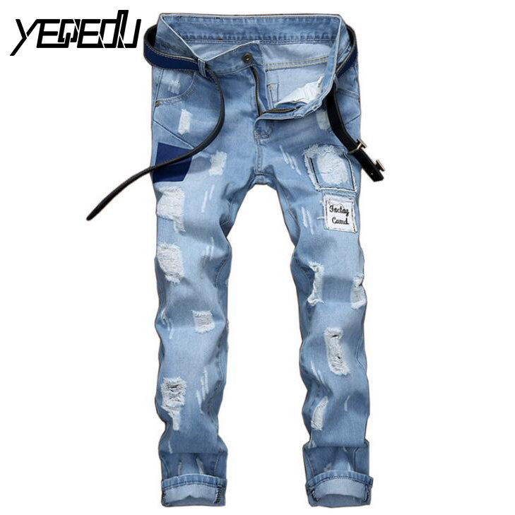 #3437 Patch Designer mens jeans Biker denim Ripped jeans for men Skinny Straight High quality Destroyed brand jeans Fashion 2017 fashion patch jeans men slim straight denim jeans ripped trousers new famous brand biker jeans logo mens zipper jeans 604