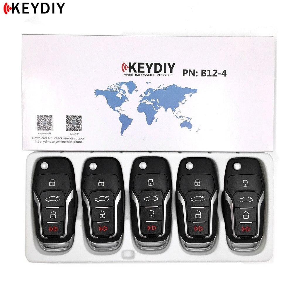 5 шт./лот, оригинальный программатор KEYDIY KD900/KD-X2/URG200, серия B, пульт дистанционного управления KD B12-4/3 для Ford, Автомобильный ключ