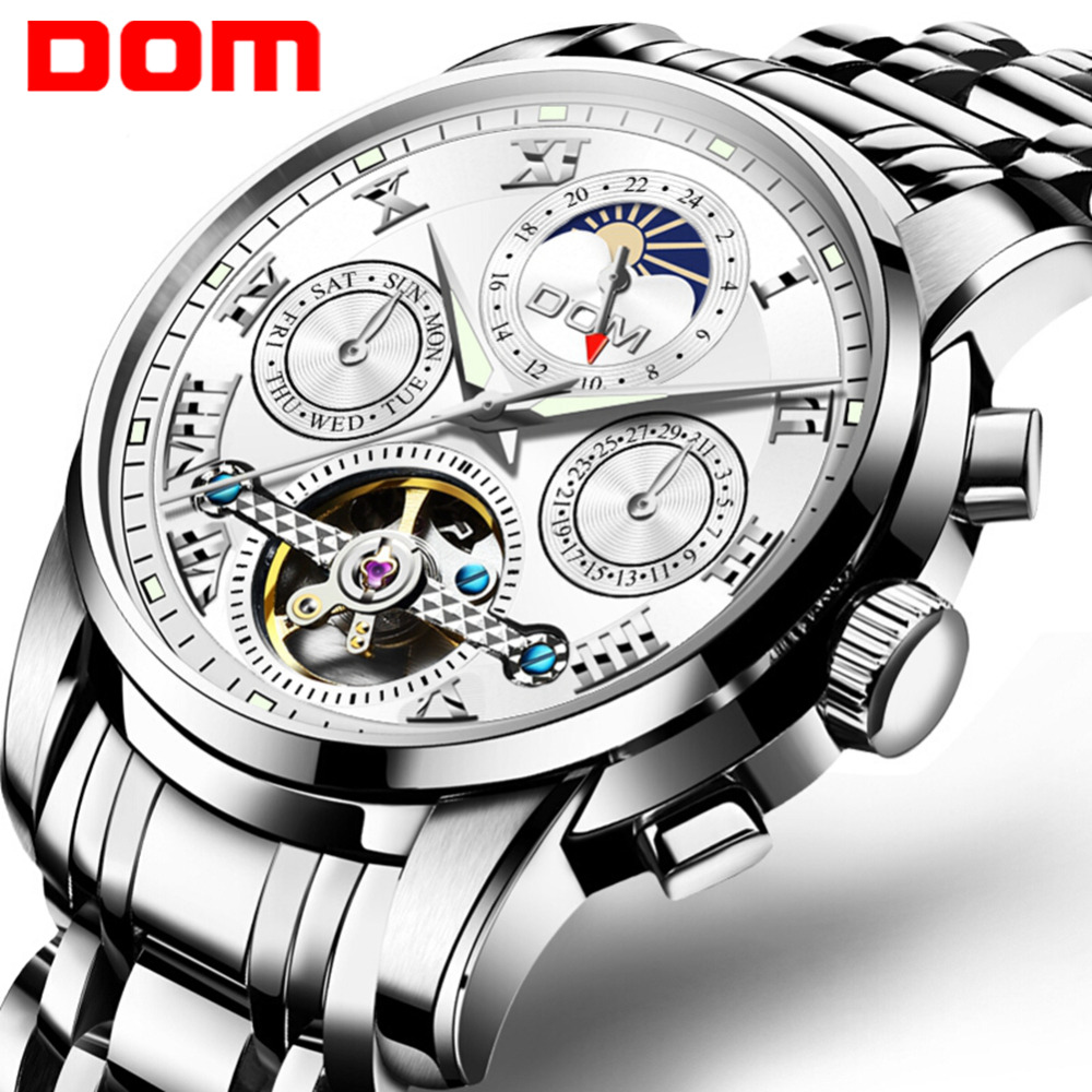 DOM Watch Men Fashion Automatic Mens Watch Top Brand Luxury Casual Stainless Steel Waterproof Mechanical Watch Men M-75D-1MH