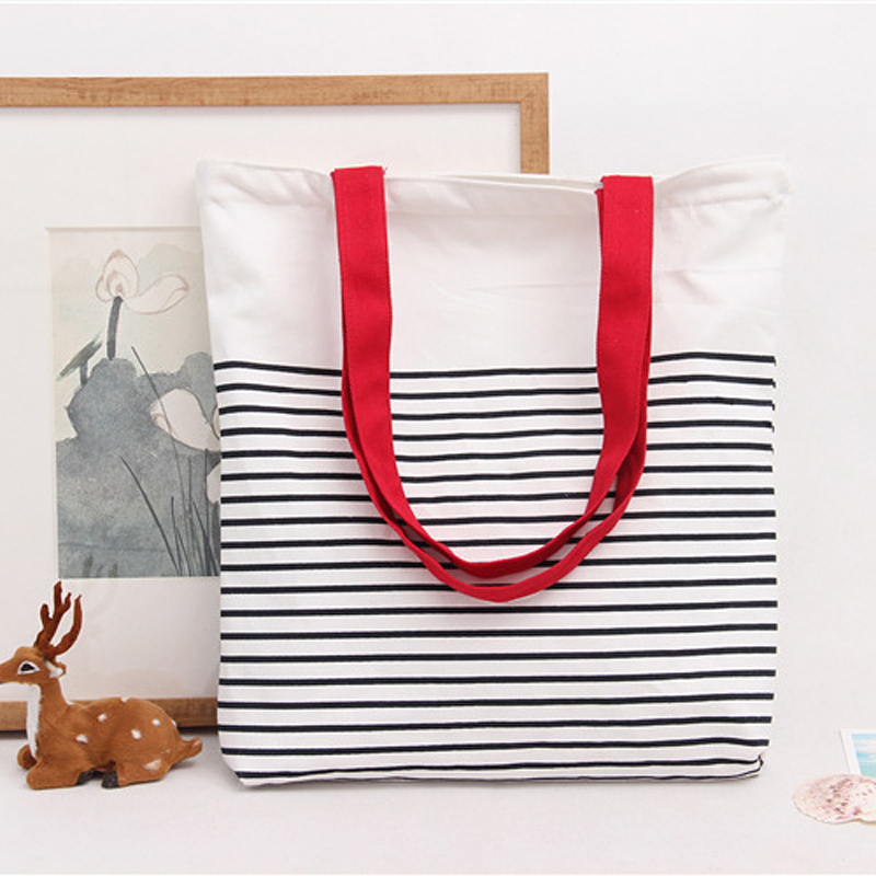 New Fashion Striped One shoulder Bag Women Casual Totes Cell Phone Bags Travel Shopping Bag Foldable Ladies Handbag Canvas Pouch in Shoulder Bags from Luggage Bags