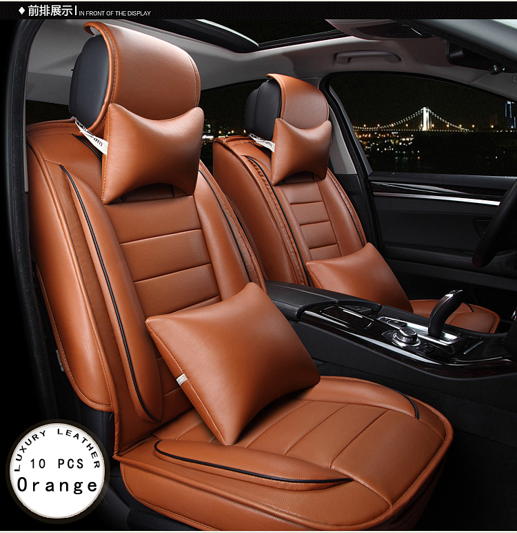 BABAAI Red Brown Beige Orange Luxury Brand Leather Car Seat Cover Front And Rear Complete For Universal Covers In Automobiles From
