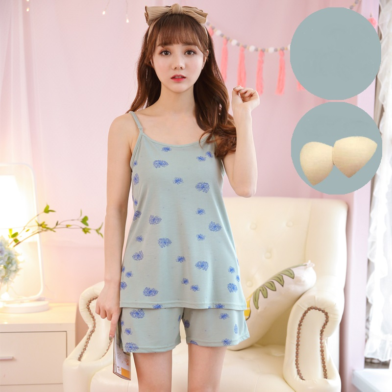 02ab81397d New Arrival Summer Modal Women Sleeveless Pajamas Set Strap With Removable Chest  Pad Casual Cute Female Sleepwear Pyjamas M-XXL