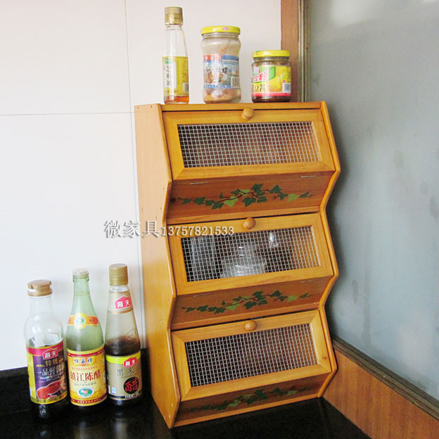 Three Layer Dish Cabinet Wooden Shelf Storage Rack Locker Multifunctional  Storage Condiment Box Storage Cabinet