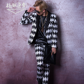 M-6XL!!DJDS's new black and white diamond suit is a stage outfit for nightclub and bar hairdressers.