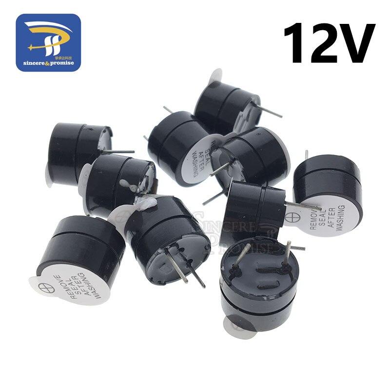 10 шт. 12 в активный зуммер Магнитный длинный непрерывный сигнал бипера сигнал тревоги 12 мм мини активные пьезоэлектрические зуммеры подходят для компьютеров принтеров