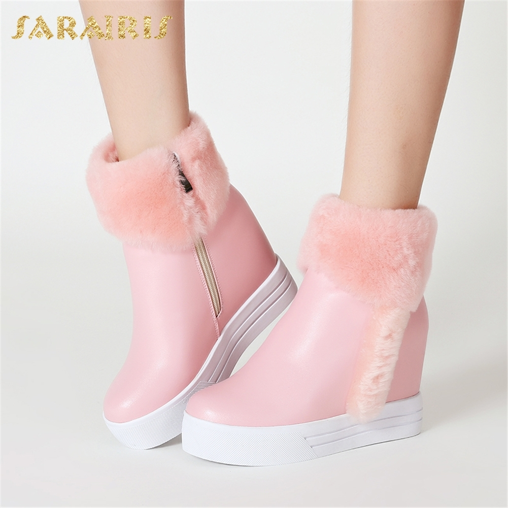 SARAIRIS 2018 plus size 32-40 Zip Up Add Fur Warm Winter Boots Woman Shoes Solid Hot Sale Increasing Heel Ankle Boots Female sarairis 2018 plus size 33 52 zip up warm ankle boots woman shoes chunky high heels add fur winter shoes woman boots