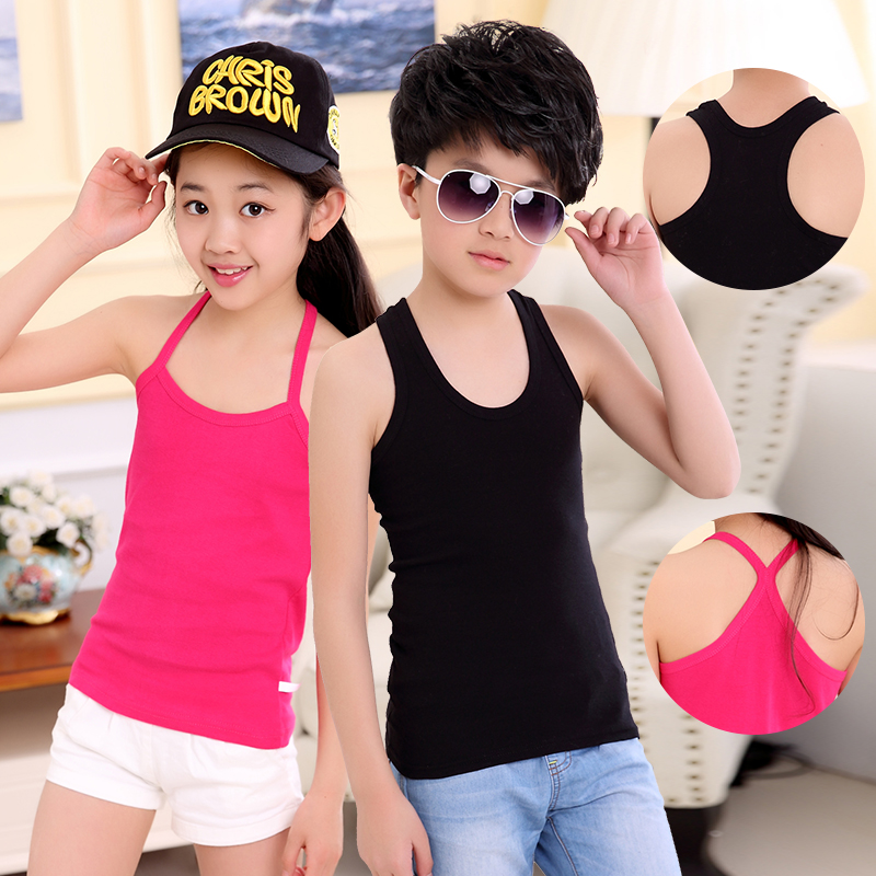 Baby Tops Children Vest Boys Girls Summer T Shirts Sleeveless Tank Camisoles Solid Toddler Tees T-Shirt Size 2 to 10 T Summer