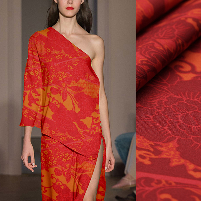 105CM Wide 27MM Floral Print Red Heavy Silk Fabric for Summer Dress Shirt Scarf Cheongsam Skirt Pants Suit C031