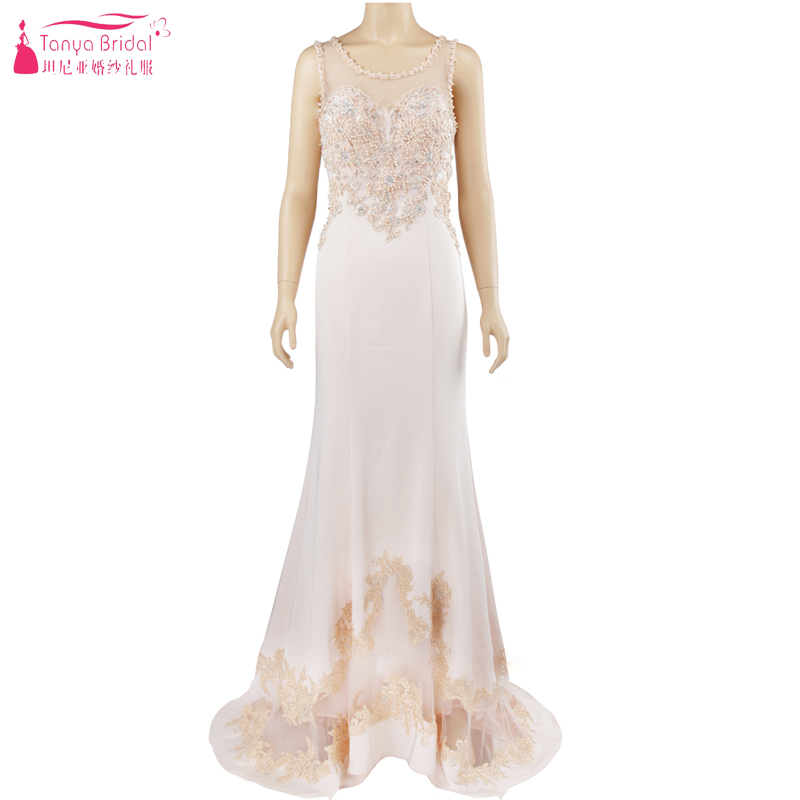 Afabic Elegance Luxury Evening Dresses Sheer Neck Mermaid Beige Fashion Formal Dress Night Wear ZE010