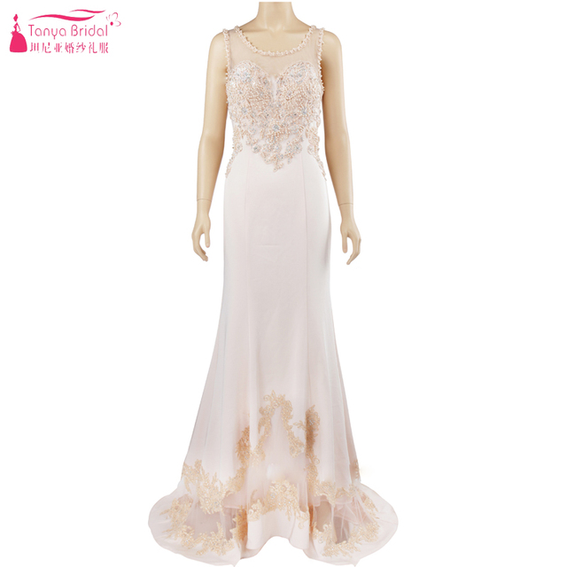 390667532be Afabic Elegance Luxury Evening Dresses Sheer Neck Mermaid Beige Fashion Formal  Dress Night Wear ZE010