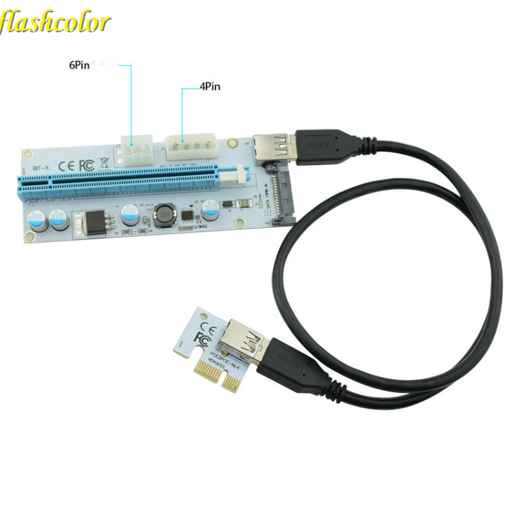 Flashcolor PCIe PCI-E PCI Express Riser Card 1x to 16x USB 3.0 Cable Adapter SATA to 4Pin IDE Molex 6 pin for BTC Miner Machine black 0 6m pci express pci e 1x to 16x riser card adapter pcie extender with usb 3 0 cable sata to 4pin ide molex power cord