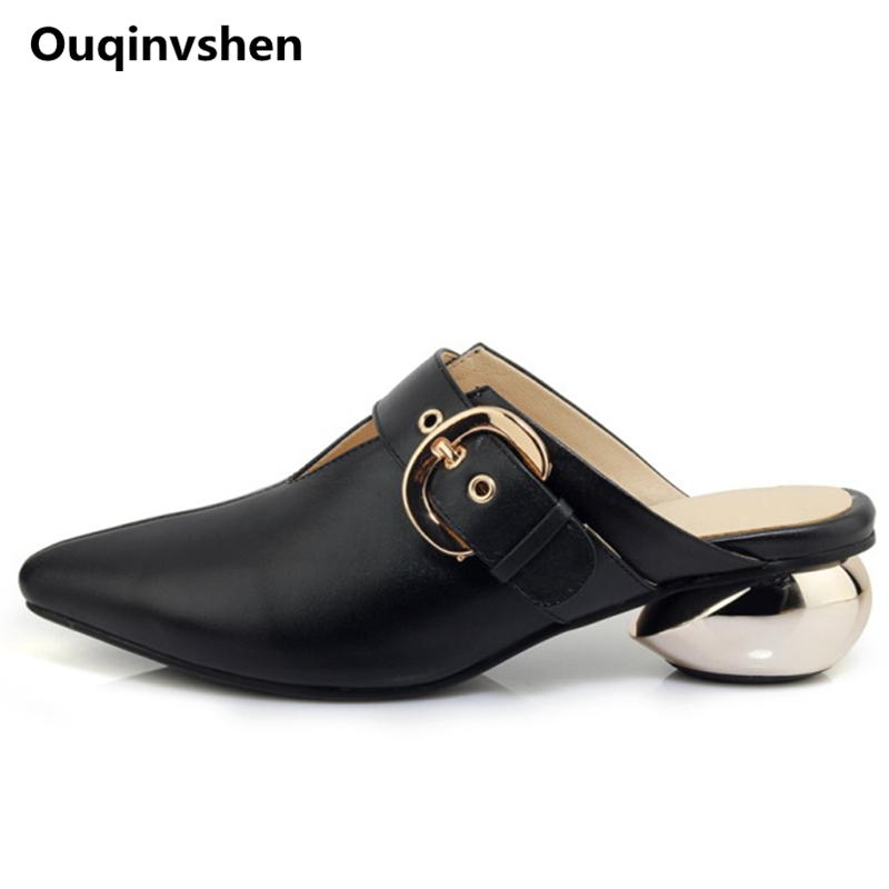 Ouqinvshen Sewing Buckle Mules Shoes Women Pointed Toe Fashion Genuine Leather Summer Heels Strange Style Ladies Slippers 4CM ouqinvshen spherical heel mules shoes round toe plus size 34 43 genuine leather yellow white ladies shoes fashion slippers women