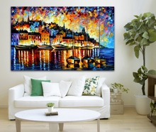 Harbor Of Corsica Palette Knife Painting 100% Hand-painted Lighting House Near By The River Canvas Painting for  Home Decor