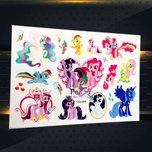 3D Child Cartoon My Little Pony Flash Tattoo Stickers, Flying Horse Fake Temporary Tattoo Kids Body Arm Tatoos Free Shipping