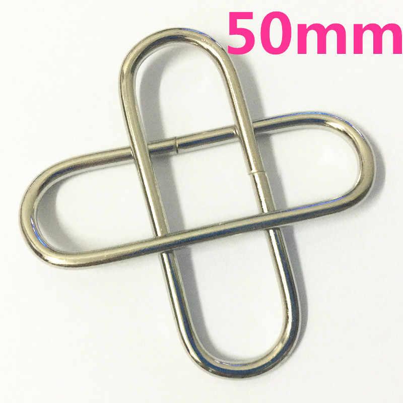 """25 шт. 50 мм петля овальное кольцо кожа 2 """"для сумочки Сумка ремень Серебро Никель лямки пряжки для лент"""
