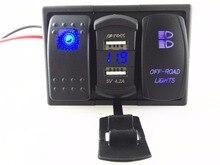 Blue Led Rocker Switch Panel DC 12-24V Dual USB Car Charger with Voltmeter off-road Light
