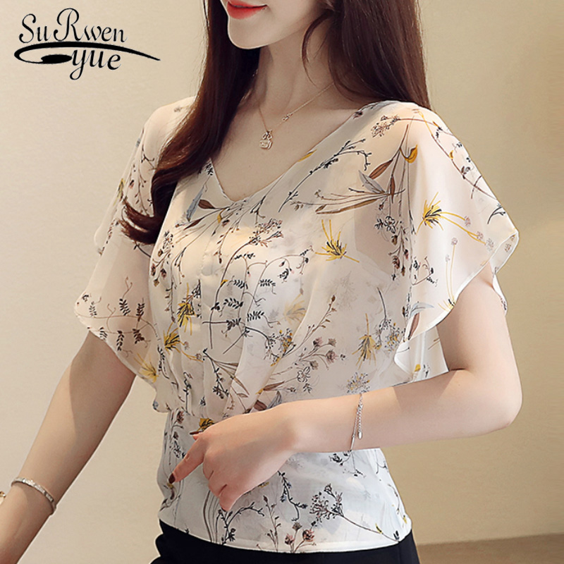 Women's Summer Blouses 2019 Plus Size Tops V Neck Ruffles Print Chiffon Blouse Women Short Sleeve Shirts Ladies Tops 4596 50