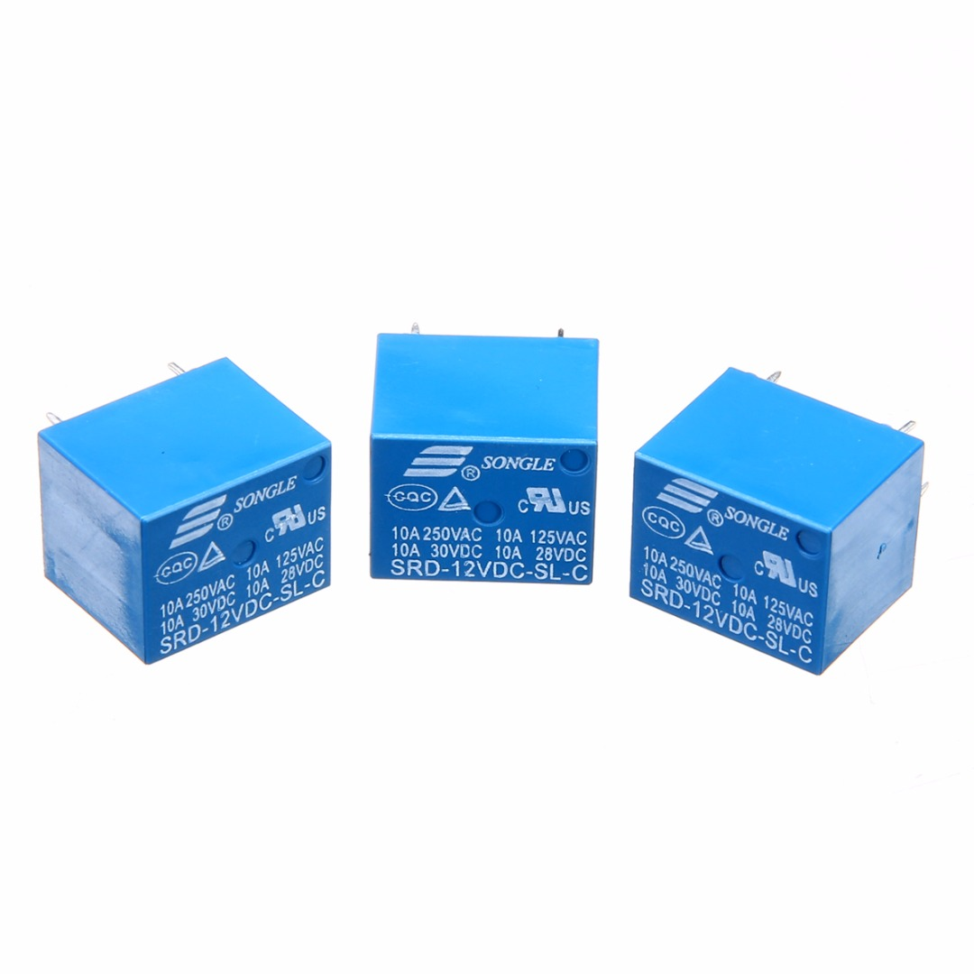2pcs/5pcs/10pcs/lot SRD-12VDC-SL-C Blue Power Relays T73-12V 10A 5 Pin Mayitr Electrical Components relays srd 12vdc sl c pcb type 12v dc songle power relay