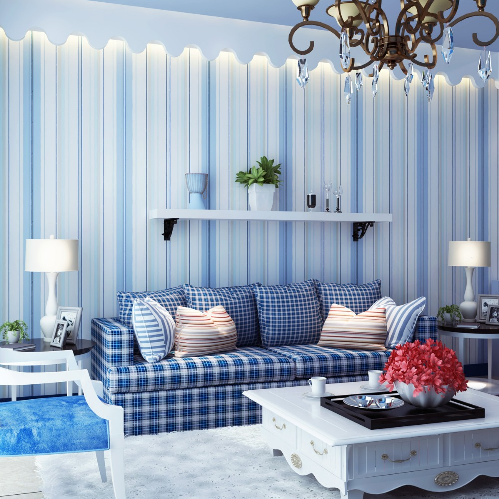 Striped Wallpaper Solid Kids Room Vertical Wall Paper Roll
