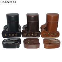 CAENBOO Camera Bags Hard Luxury Leather Case Cover For Canon EOS M6 EOSM6 15 45mm Lens+Storage Bag Bottom Opening+Shoulder Strap