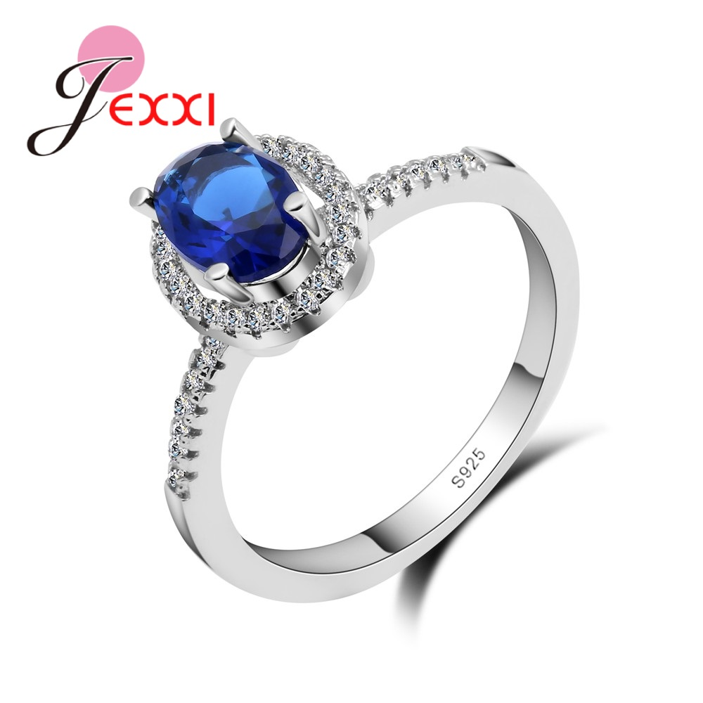 JEXXI Charming Blue Zircon Stone Ring Fashion Women Wedding Jewelry 925 Sterling Silver Engagement Rings Anillos Bijoux Bague
