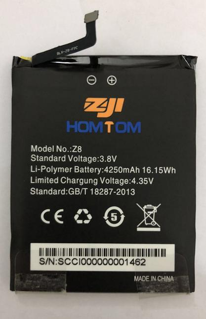100 New Original HOMTOM zoji Z8 Battery 4250 mAh for HOMTOM zoji Z8 Smart Phone in Mobile Phone Batteries from Cellphones Telecommunications
