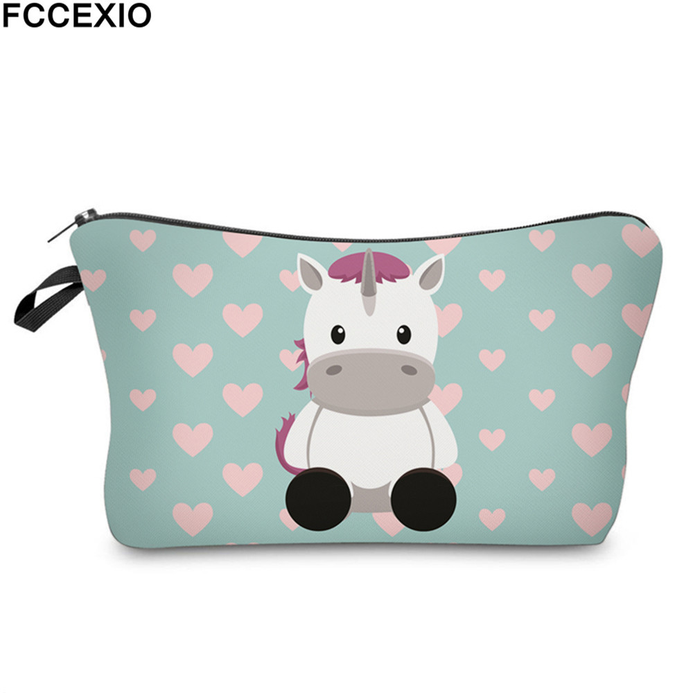 FCCEXIO New 3D Print Makeup Bags With Unicorn Pattern Cute