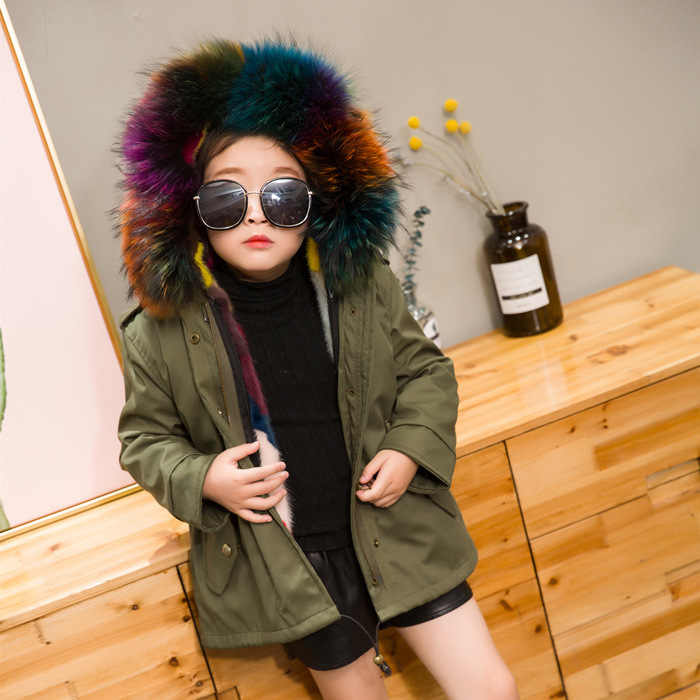 dd36e709d1f50 2018 Winter Girls And Boys Big Real Raccoon Fur Rabbit Liner Thick Coat  Kids Children Military