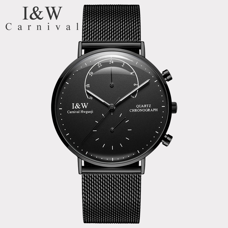 цена I&W Mens Watches Top Brand Luxury Carnival Stainless Steel Double Time Zone Quartz Watch Men Ultra Thin Clock relogio masculino