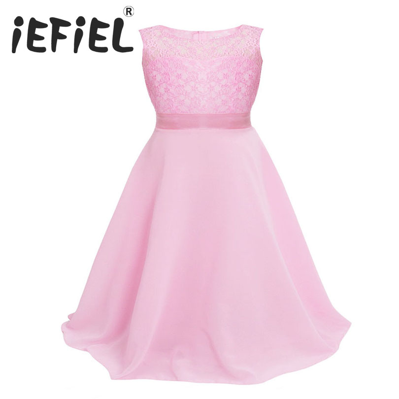 fb91cc686c2 iEFiEL Kids Girls Floral Lace Dress Flower Dress Ball Gown Prom Wedding  Maxi Dress Baby Girls Appliques Wedding Flower 2-14 Y